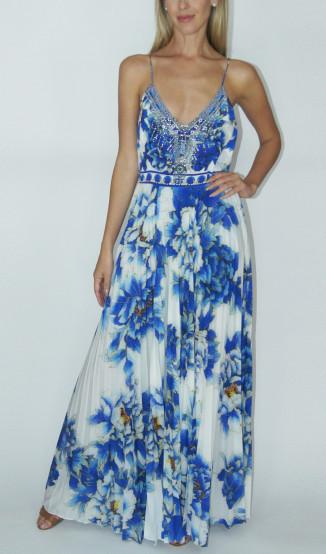 Vestido Fluído Floral Azul