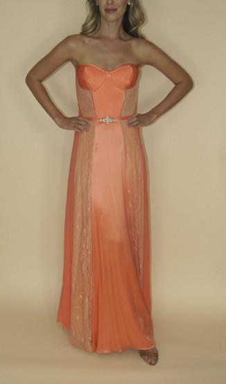 Vestido Coral Seda e Renda