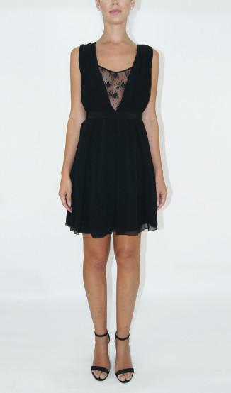 Kelly Piquet Vestido de Seda com Renda