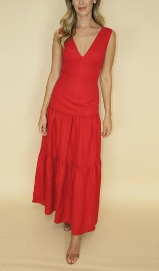 Vestido Vermelho de Linho
