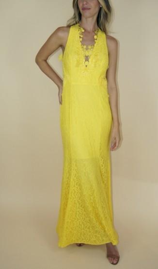 Vestido Rendado amarelo