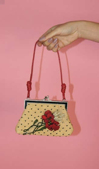 Bolsa Pequena de Palha Bordada